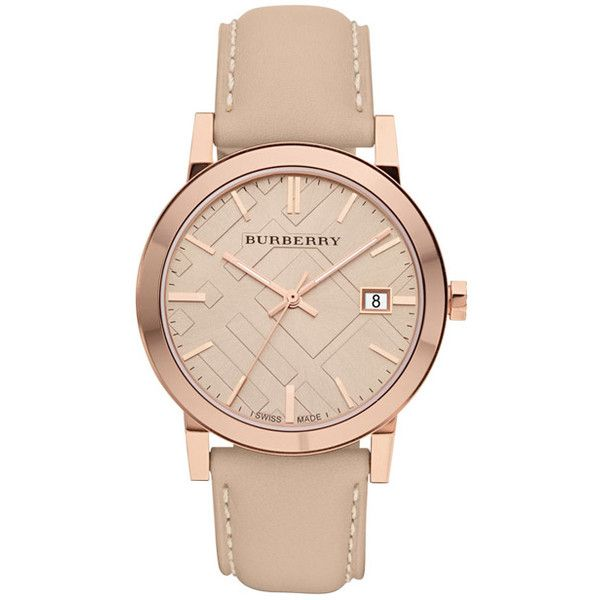 Burberry Tan Dial Leather Strap Unisex Watch (€420) ❤ liked on Polyvore featuring jewelry, watches, accessories, analog wrist watch, water resistant watches, swiss quartz watches, dress watches and burberry jewelry