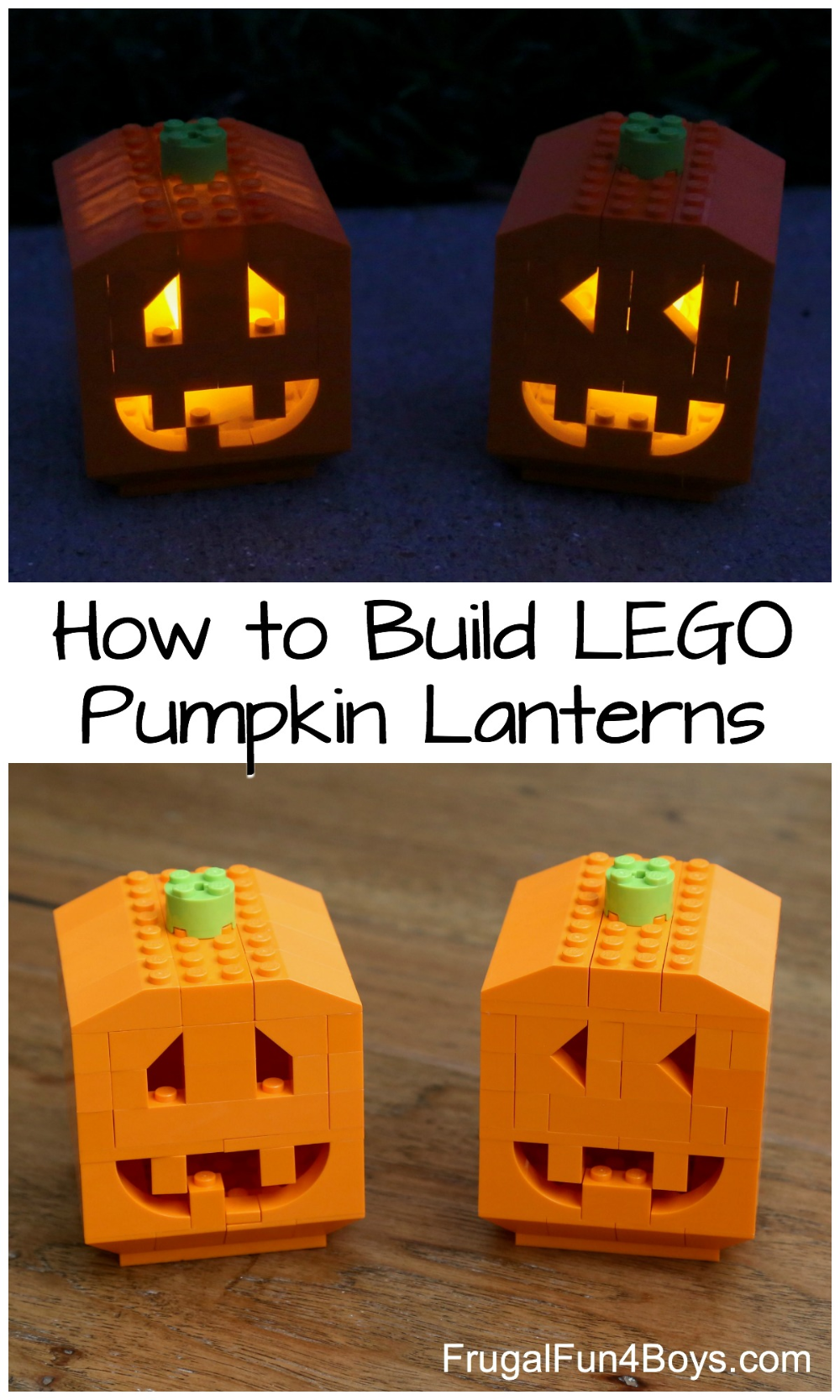 How To Build Pumpkin Lanterns With Lego Bricks Frugal Fun For Boys And Girls Lego Pumpkin Lego Halloween Lego For Kids