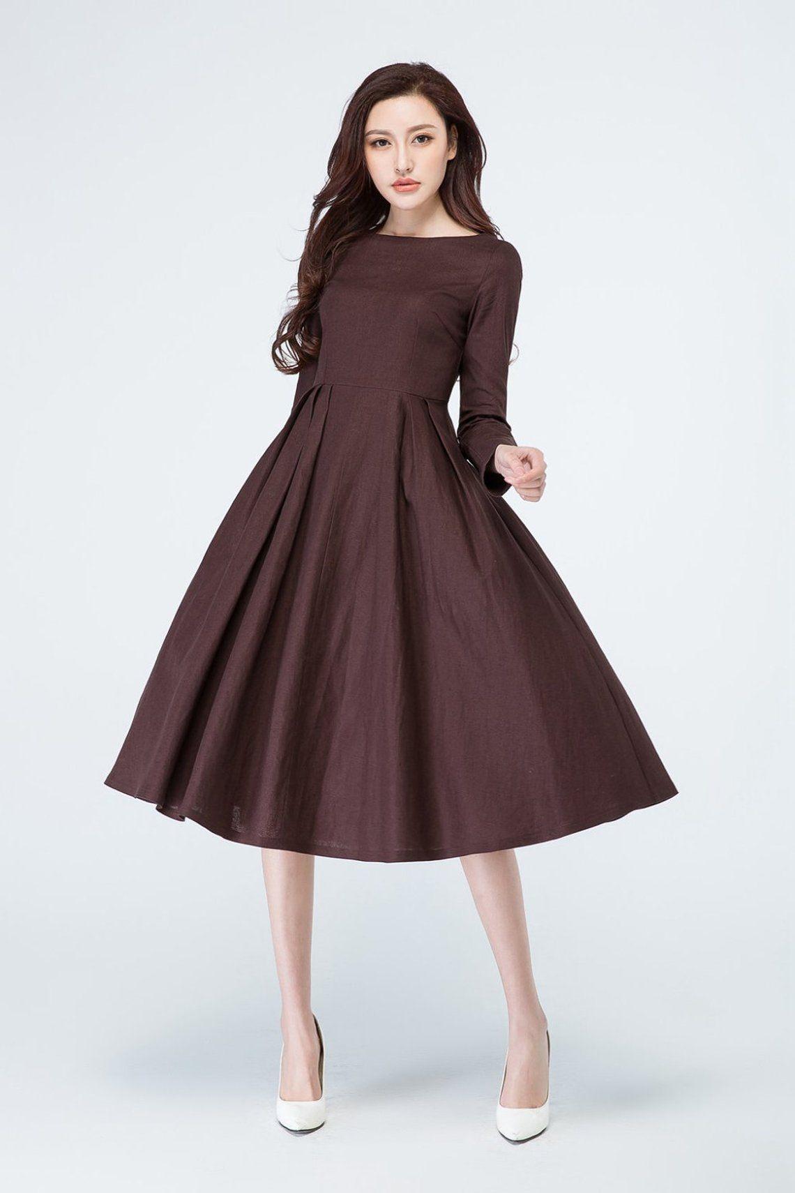Eine Linie braunes Kleid Leinen Kleid lange Ärmel Kleid  Etsy