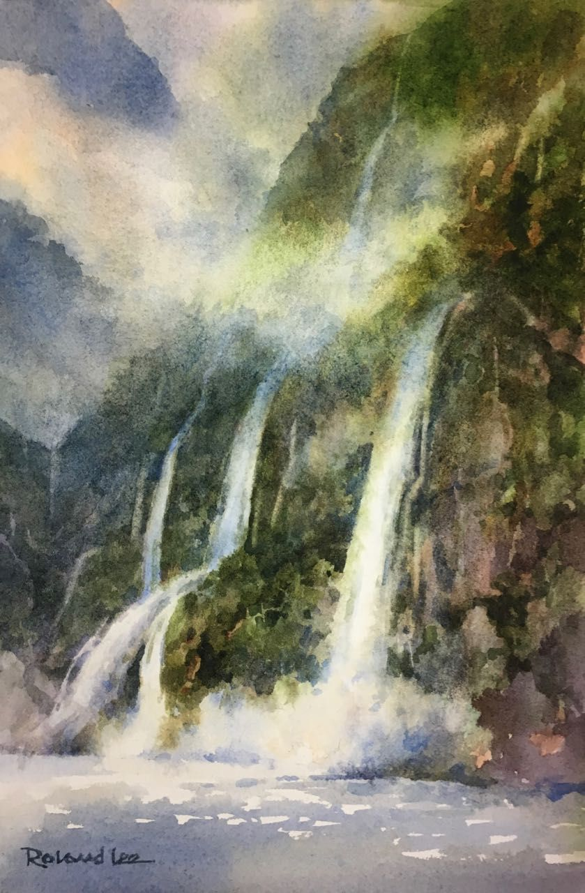 Milford Sound Falls - New Zealand in 2020 | Watercolor ...