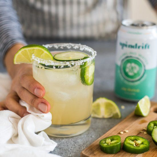 A Cucumber Jalapeno Margarita made with refreshing cucumber sparkling water, fresh jalapeños and organic agave nectar!