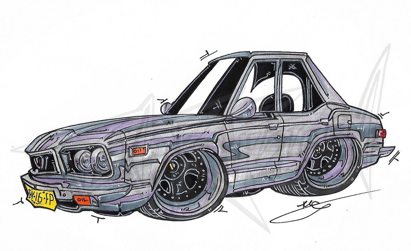 A lovely Aussie style rotary commissioned by @scrramm #rotary #rx3 #13b #wankel #simmons #rotaryrevival #drawing #cardrawing