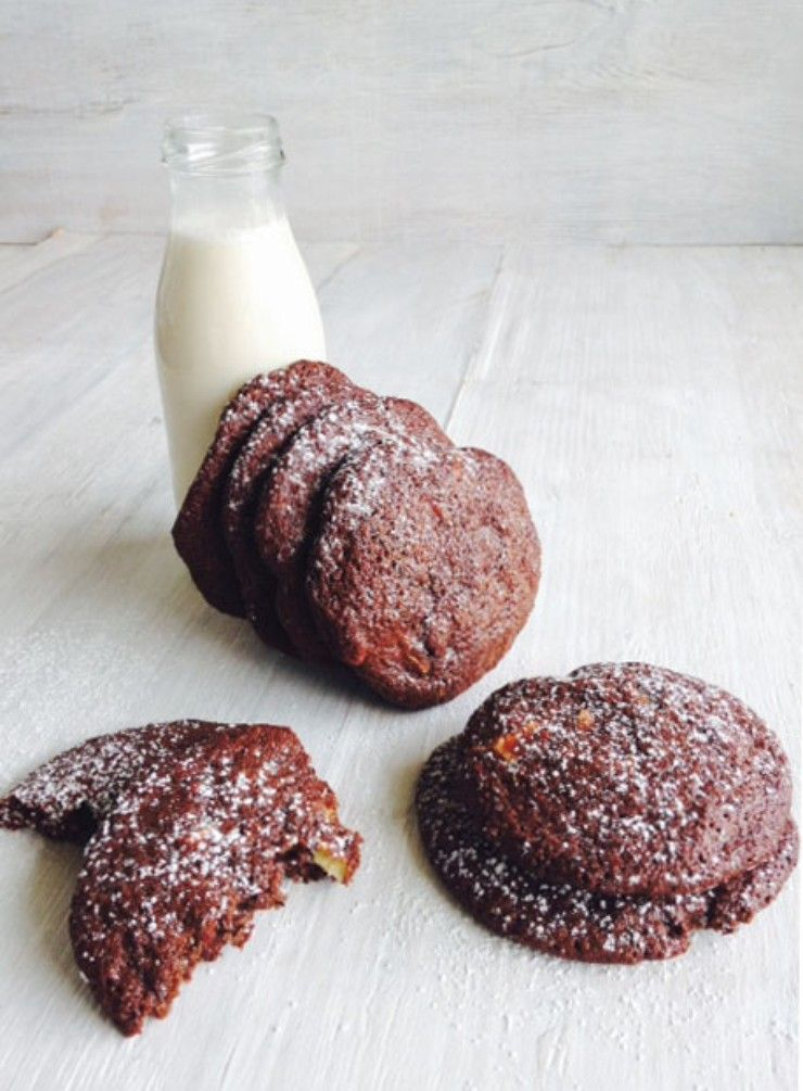 Buckwheat and roasted almond double chocolate cookies