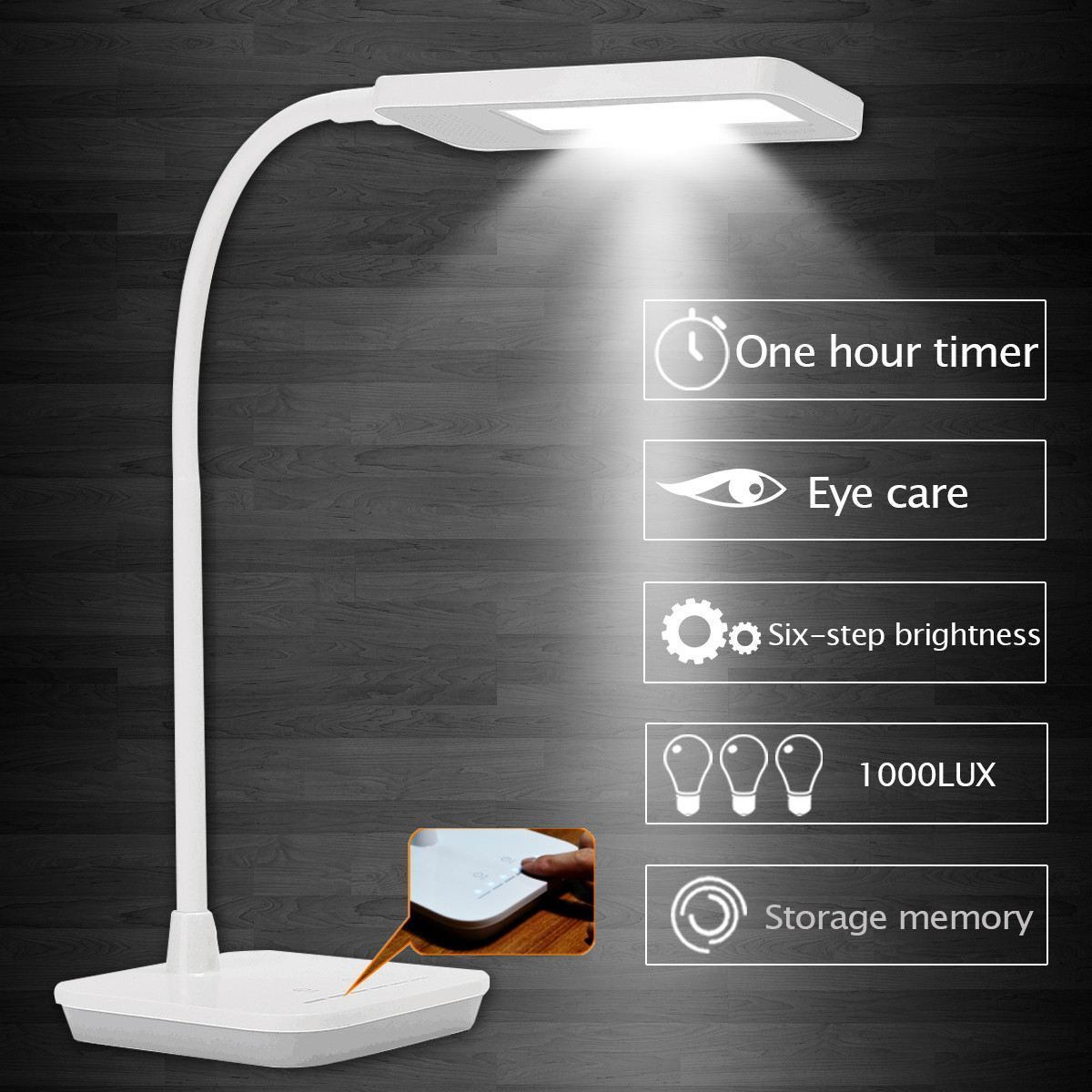Rectangle Desk Lamp Touch Switch Control Led Table Night Light Reading Lamp Eye Protection Adjustable Six Step Brightness Lamp Eye Reading Lamp Reading Light