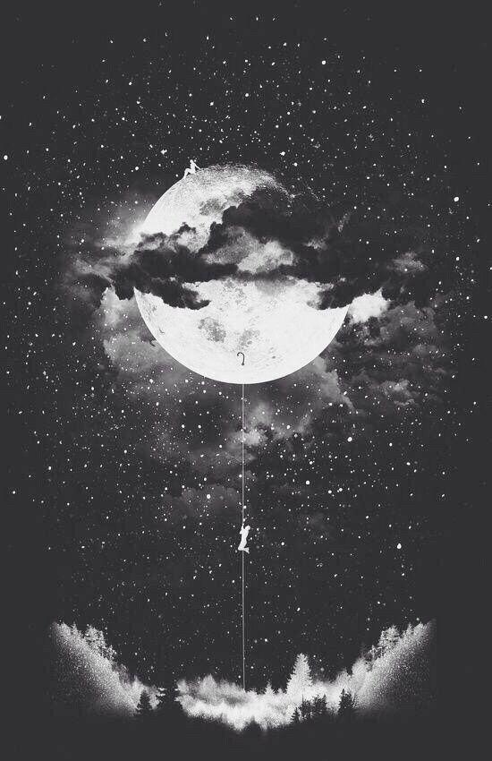 B W Black And White Boy Cloud Girl Magic Moon Night Scenery Wallpaper First Set On Favim Com Back Ground Foestr Moon Art Climbing Art Art