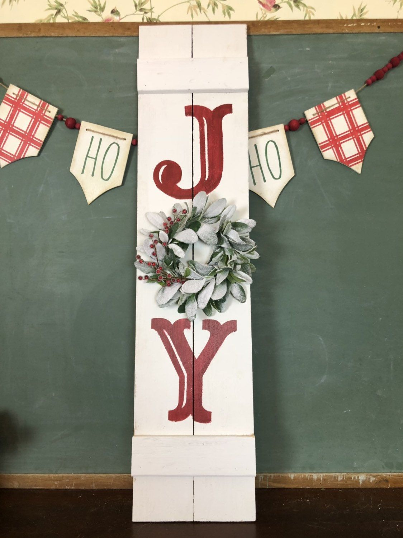 Large JOY Christmas Sign with wreath Farmhouse Christmas