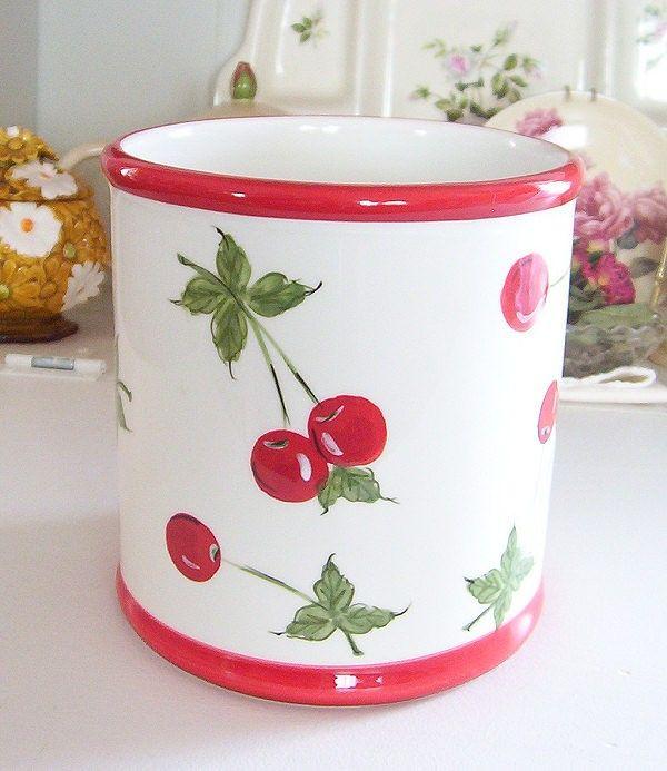 Beautiful Vintage Retro Style Ceramic Cherries Cherry Kitchen Utensil Jar