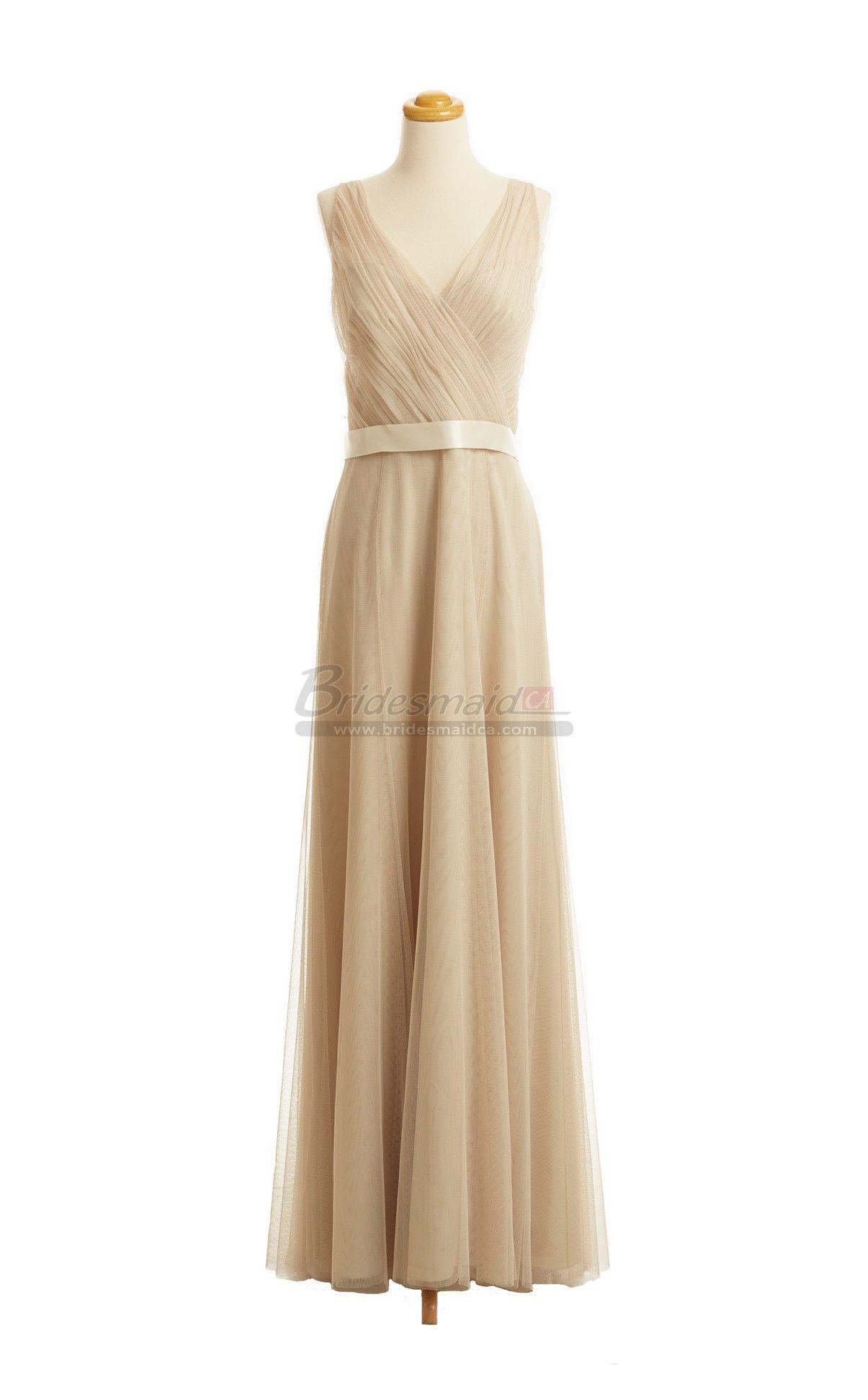 V neck long chiffon bridesmaid dress in yellow dresses bdsca