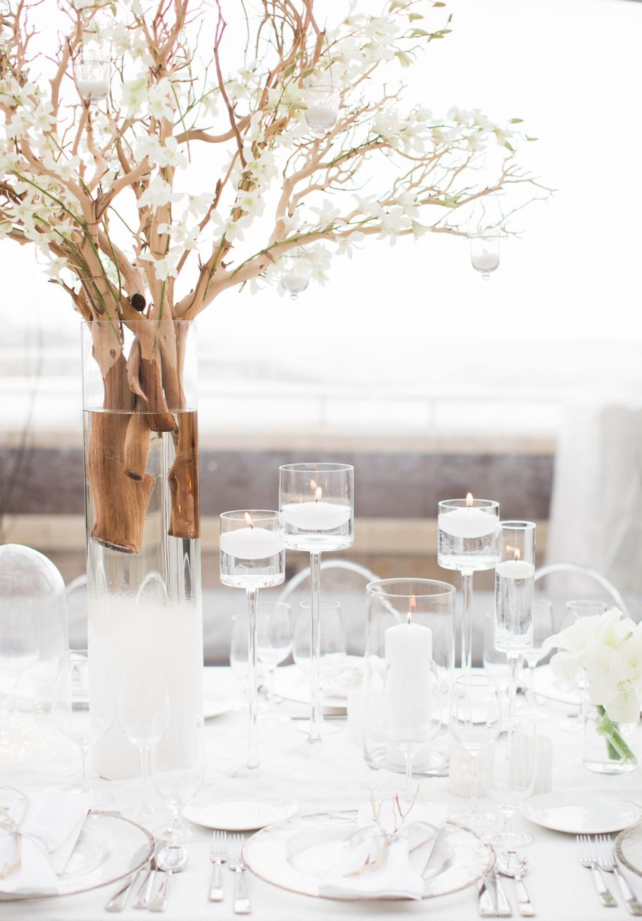 Guests wore white for this glam winter wedding winter