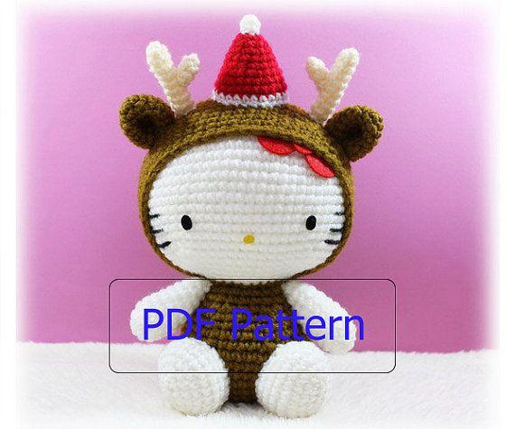 PDF Pattern Amigurumi Kitty in Christmas Reindeer by furinn, $5.50 ...