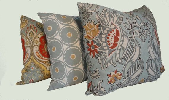 Kravet Lutron Blue Gray Red And Gold Decorative Pillow Cover 40x40 Custom Red And Gold Decorative Pillows