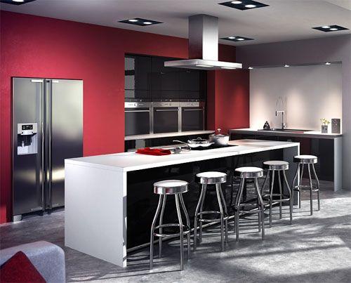 Bar bas table avec plaques de cuisson au centre cuisine design cuisine pinterest kitchen for Centre de table de cuisine