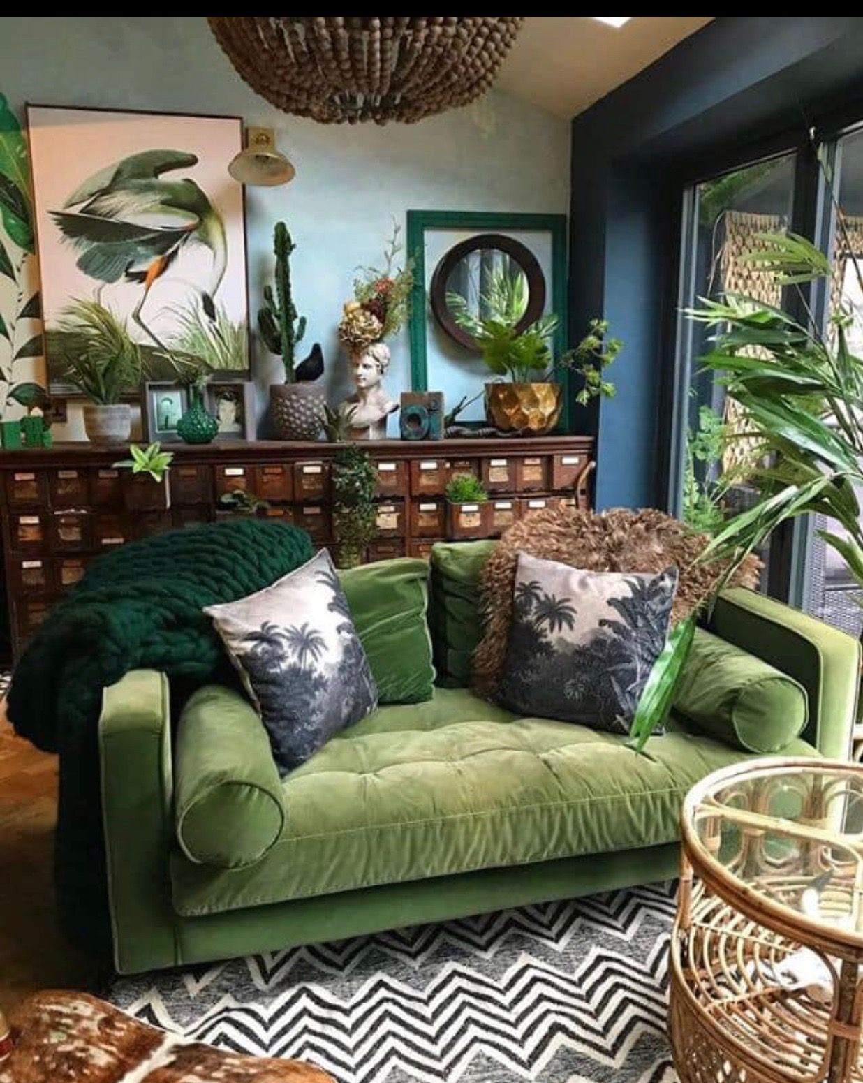 Living room interior design green sofa love seat dark