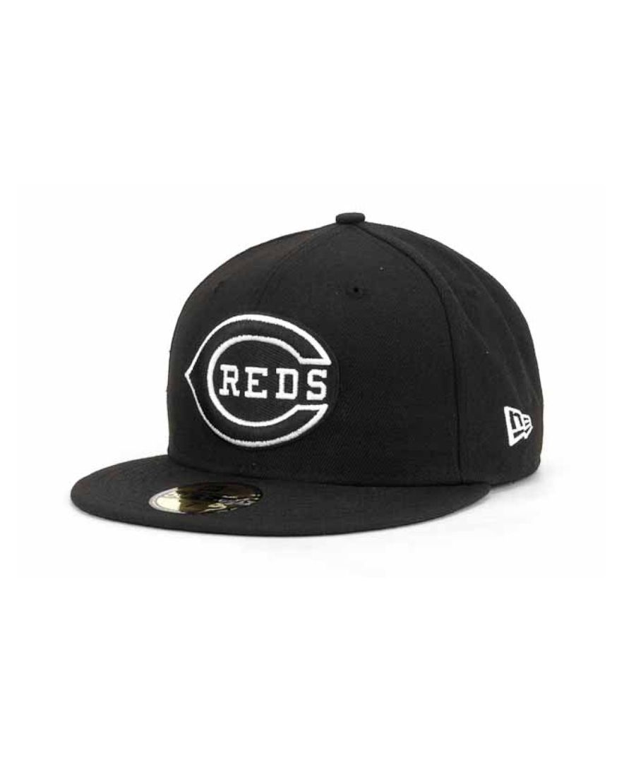 promo code 5ab28 85949 ... spain new era cincinnati reds black and white fashion 59fifty cap faa8d  8381c