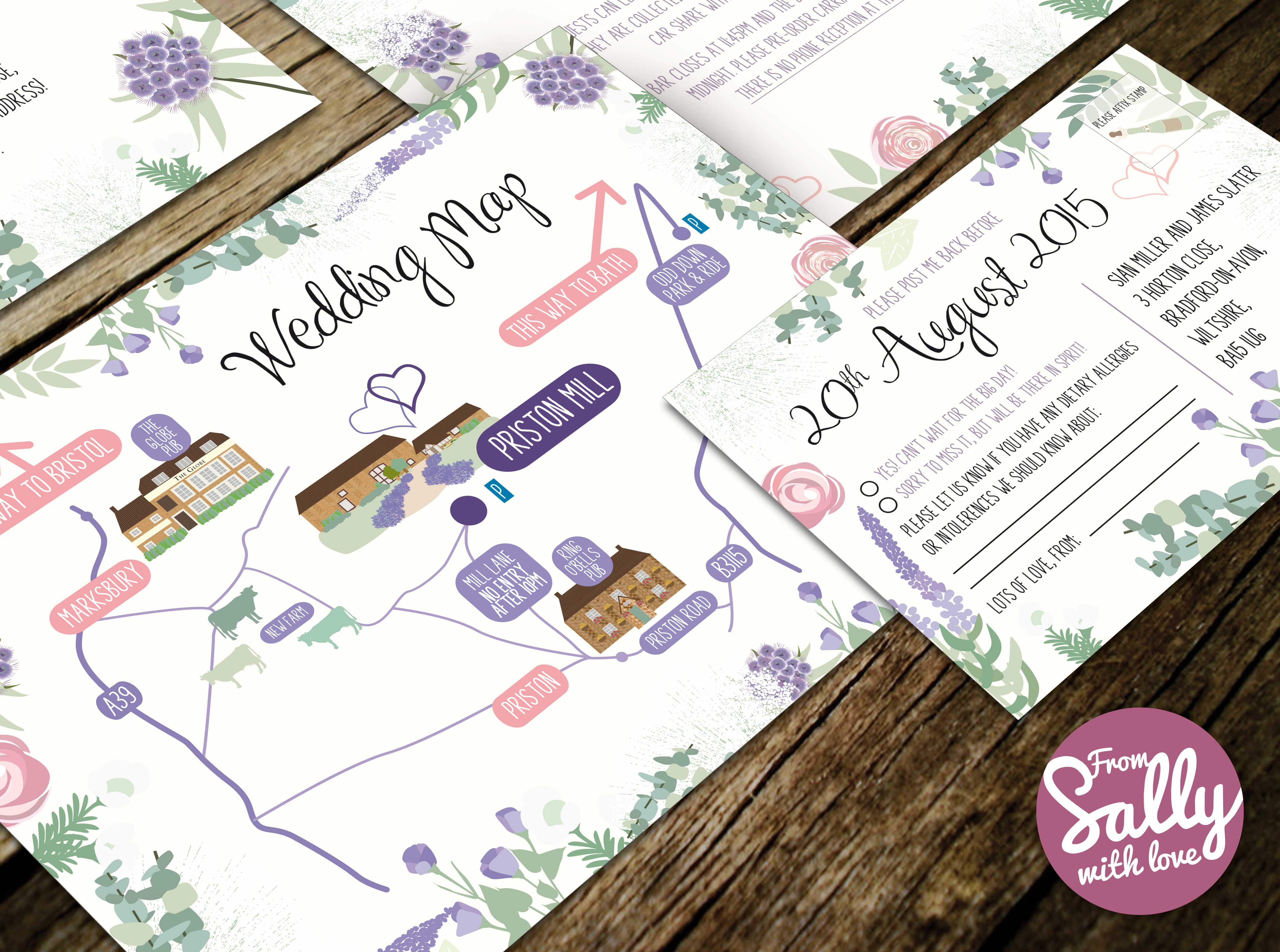 Bespoke wedding Map for Sian and James\' wedding Invitation. http ...