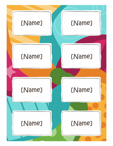Name Badges Bright Design 8 Per Page Works With Avery 5395 And Similar Name Badge Template Name Tag Templates Badge Template