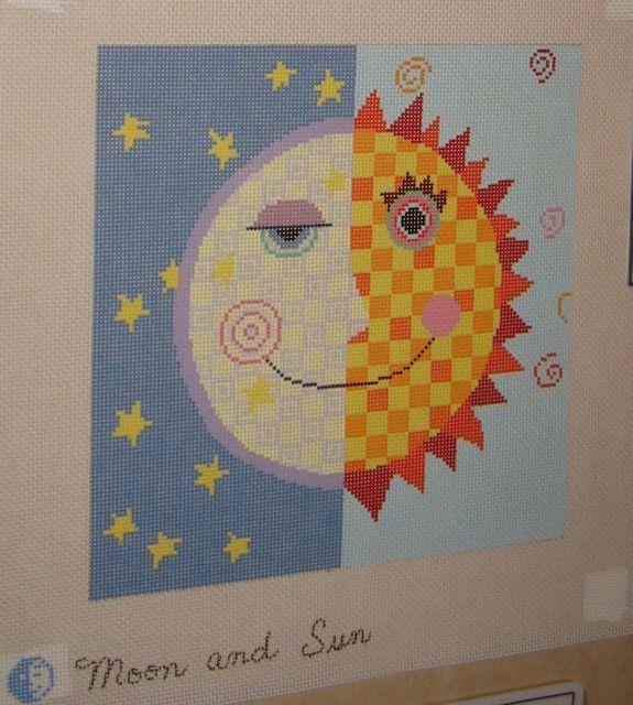 moon and sun needlepoint canvas