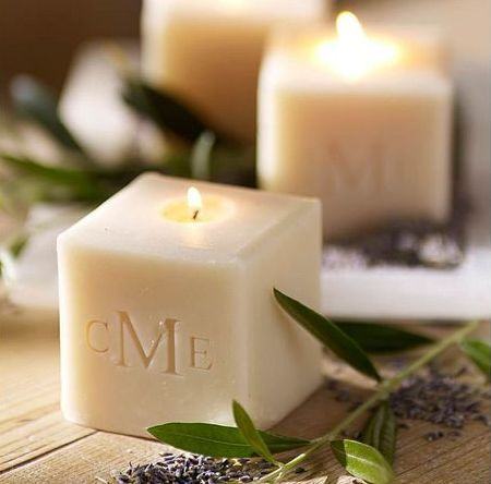monogrammed candles | pottery barn
