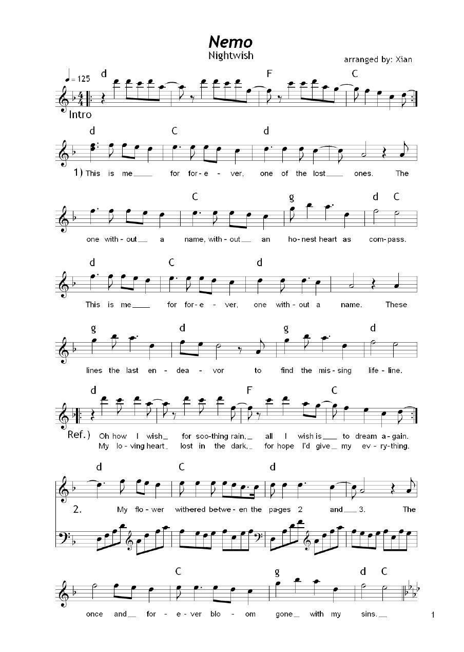 Nightwish Nemo One Of My Classic Favourites Sheet Music