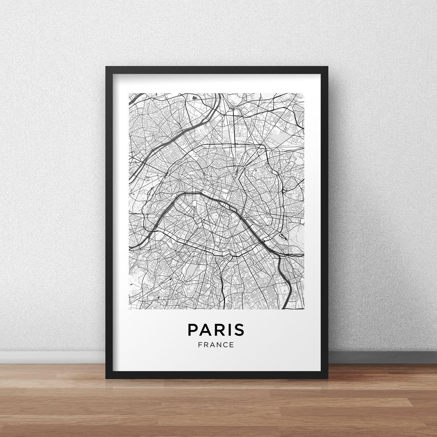 unframed 2072 Paris France Street Map art print