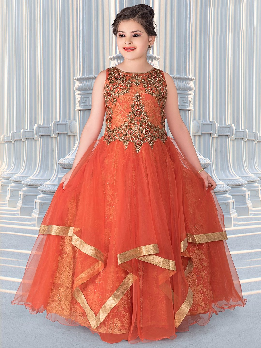 Orange Net Frill Pattern Gown Keerthis In 2019 Frocks Gowns