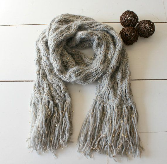 Knit scarf. Handmade Grey and golden sequins cowl. by CheriDemeter