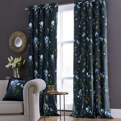 Charm Floral Midnight Blue Eyelet Curtains   Dunelm   Home ...