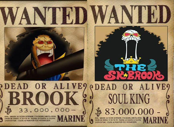 one piece brook wanted poster one piece one piece one