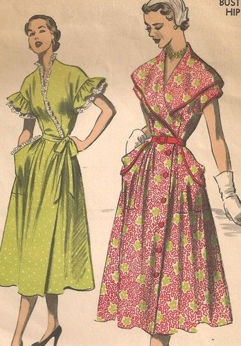 Unusual Vintage Early 1950s House Coat Dress Sewing Pattern 36 Bust ...