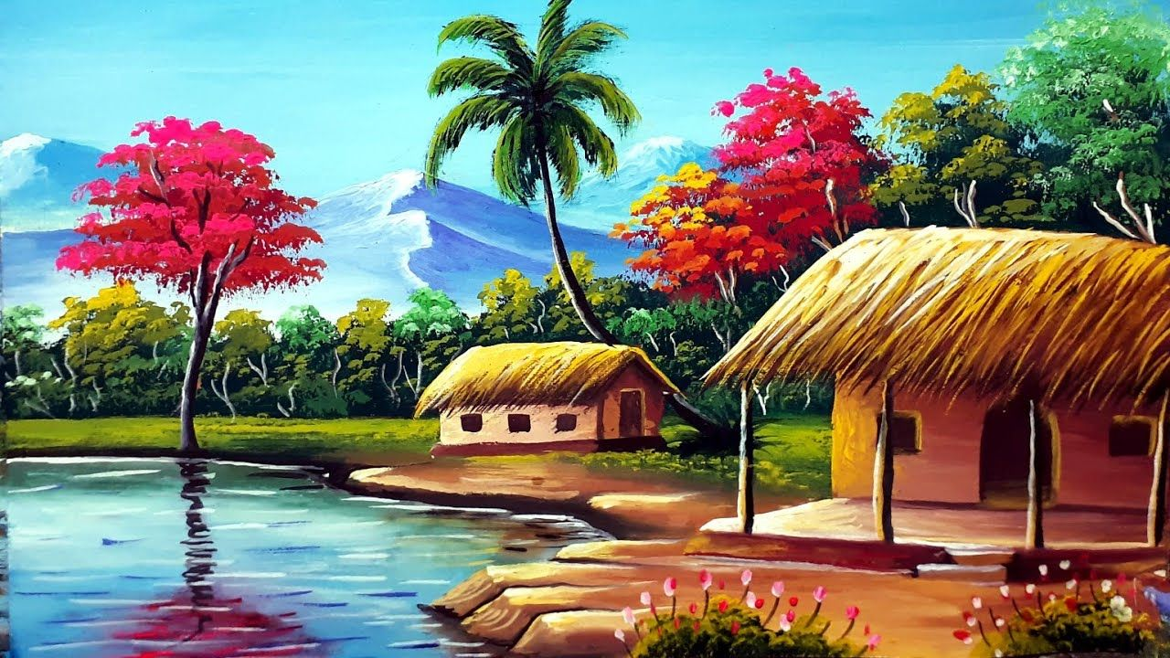 Indian Village Senary Painting Easy Tutorial Watercolour Painting For In 2020 Beautiful Scenery Drawing Scenery Paintings Village Photography