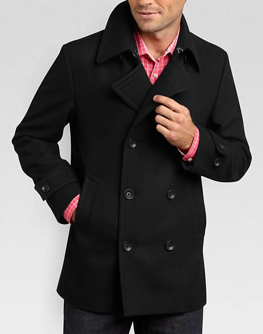 Egara Black Slim Fit Peacoat | Mens Fashion | Pinterest | Peacoats ...