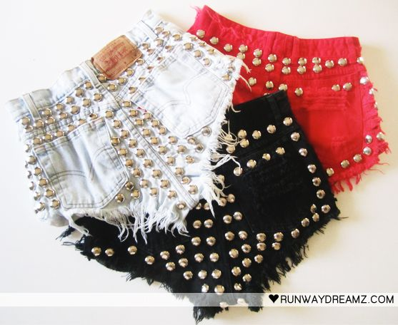 If I could fit my hips and ass in these....... Runwaydreamz : Asher Vintage Black Studded Back Frayed Shorts