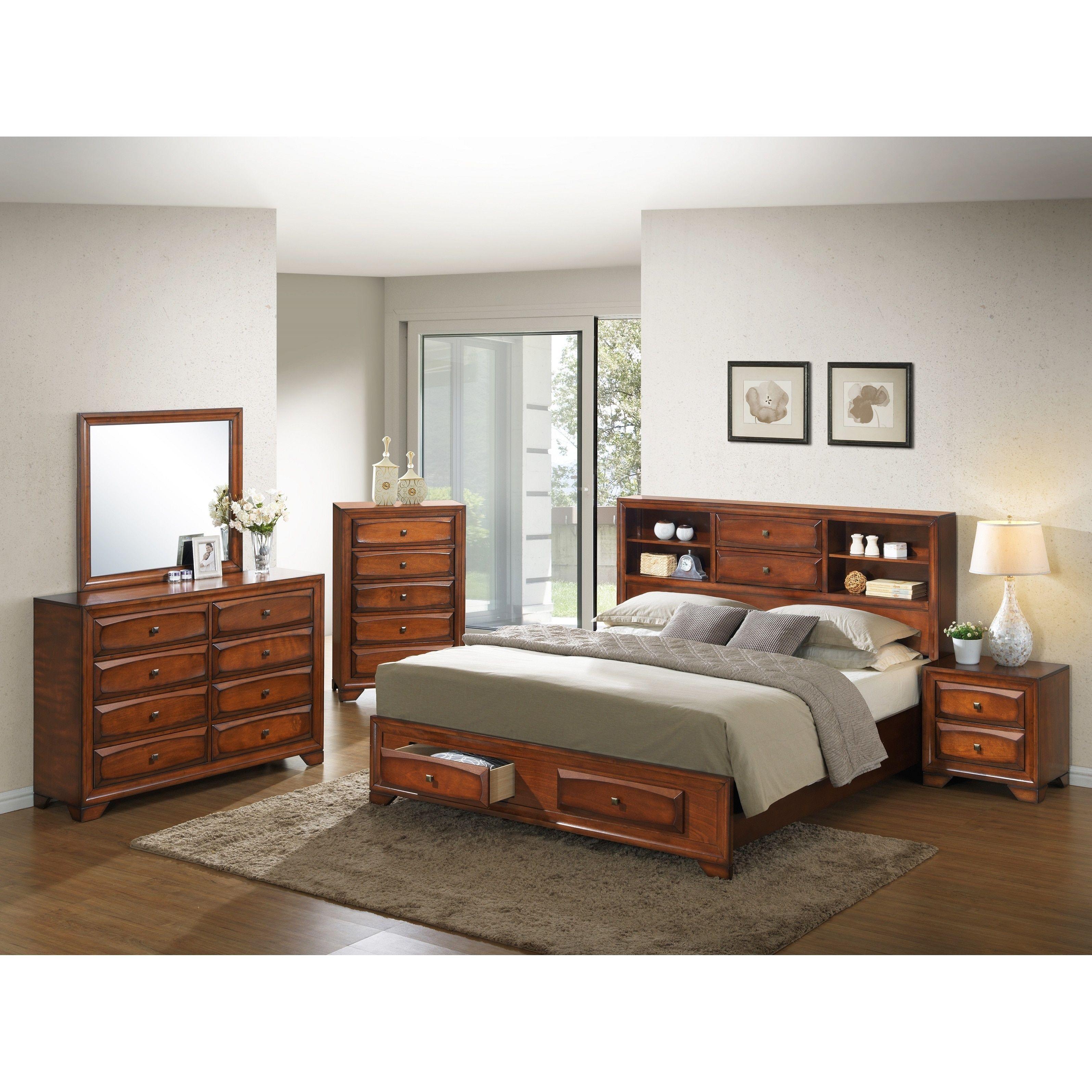 Asger Antique Oak Finish Wood Queensize 5piece Bedroom