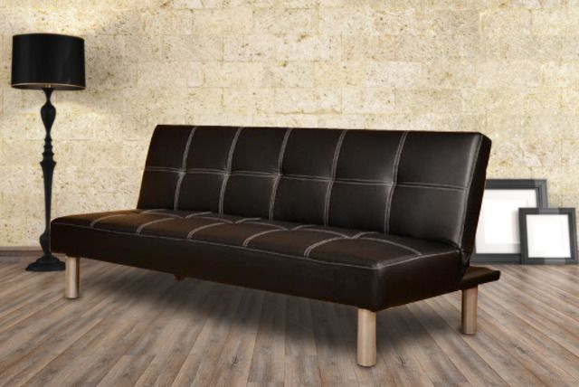 We Re Offering You A Black Faux Leather Three Seater Sofa Bed For