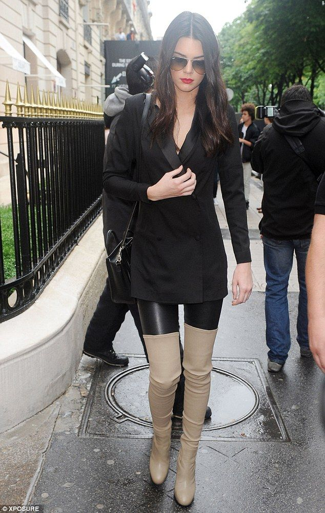 Kendall Jenner Wears Thigh High Boots And A Chic Blazer In Paris