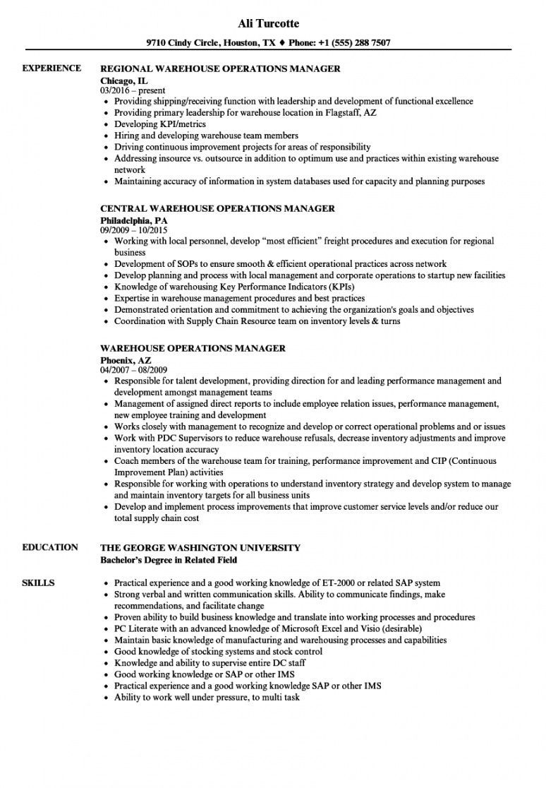Get Our Example Of Warehouse Manager Job Description Template For Free Resume Examples Manager Resume Architecture Resume