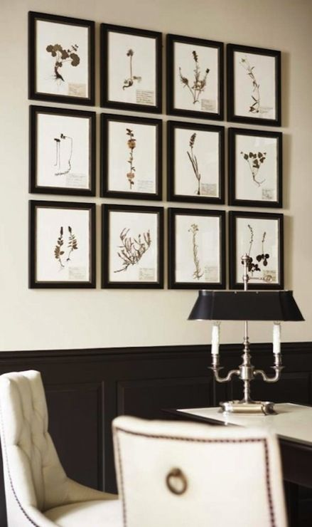 Perfect Source: Linda McDougald Design Ivory U0026 Black Office Design With Ivory Walls  Paint Color, Black Chair Rail U0026 Wainscoting, Botanical Art Gallery In Black  ...