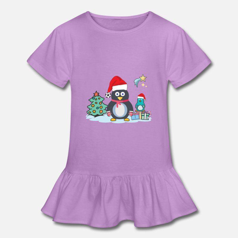 f00f708f4672d Christmas Penguin Santa Hat Soccer Ball Pom Pom Girl s Ruffle T-Shirt.  ChristmasPenguin