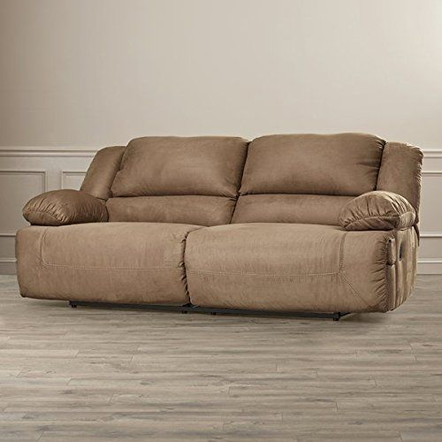 Two Seat Reclining Sofa in Mocha Made of Microfiber Padded ...