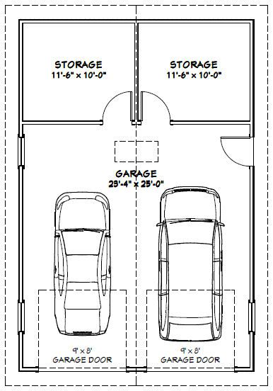 24x36 2 Car Garage 24x36g1 864 Sq Ft Excellent Floor