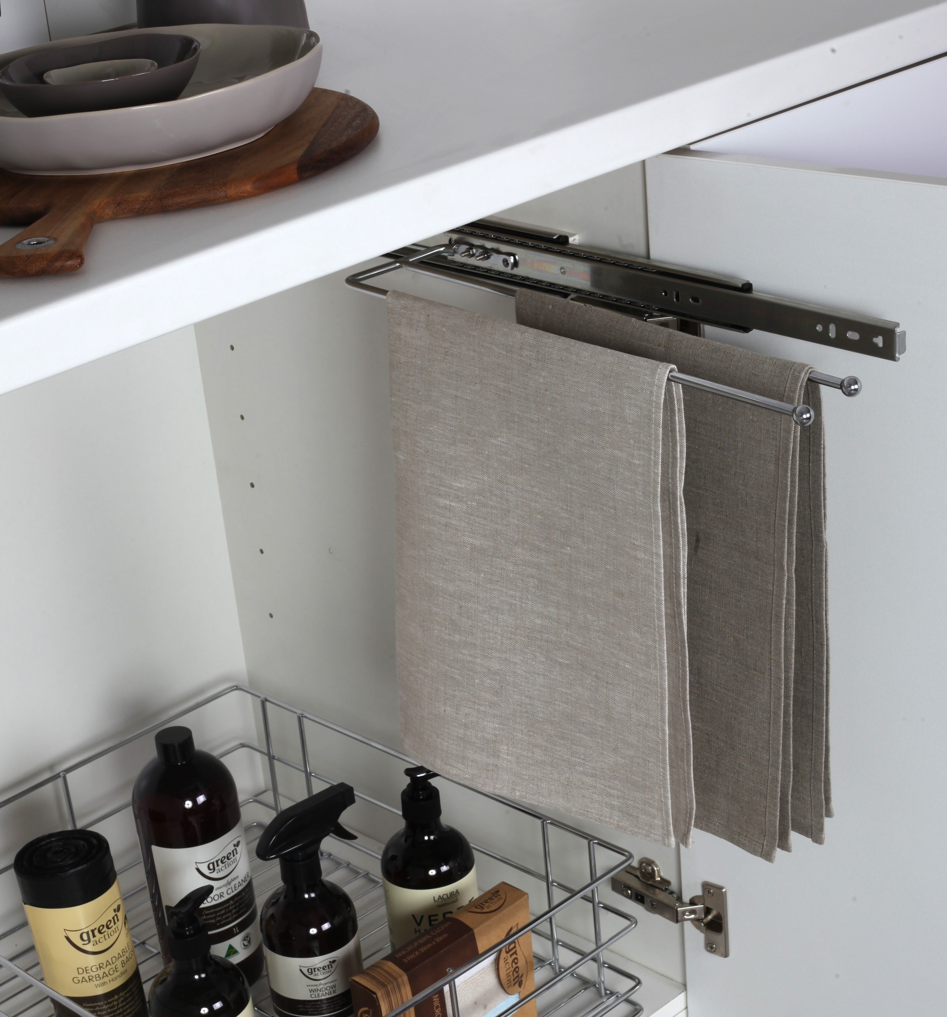 Tea Towel Slide Stainless Steel Wire Tansel Storage Under Sink Storage Sink Storage Wire Shelving