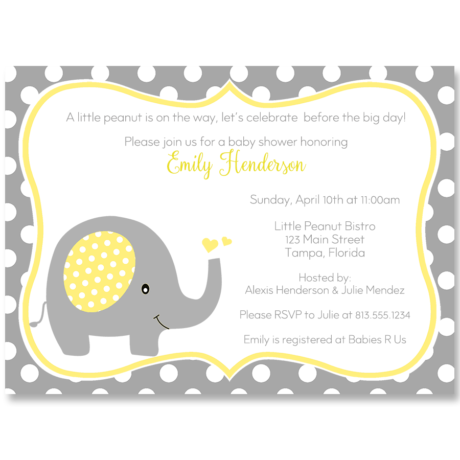 Polka Dot Elephant Yellow Baby Shower Invitation | Boy baby showers ...