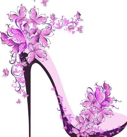 Free Creative Violet Floral High Heeled Shoes Vector Titanui Shoes Vector Shoe Wall Art Floral