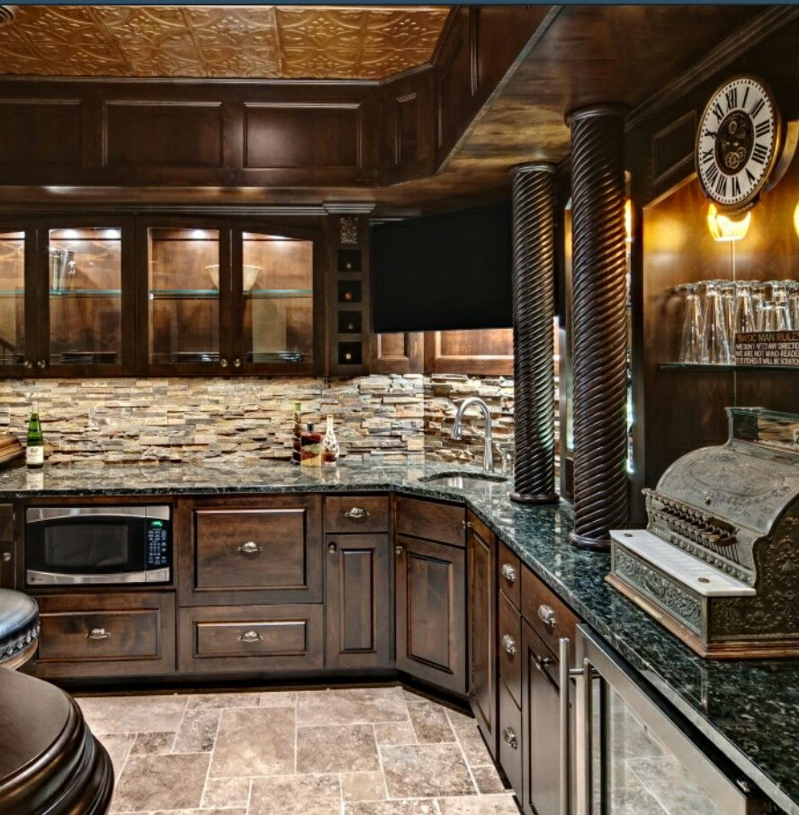 Kitchen Backsplash Rock: Home Bar With Stone Backsplash &granite.