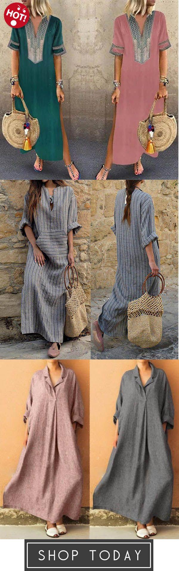 f677a879d1b V neck Shift Women Daily Statement Half Sleeve Slit Solid Summer Dress