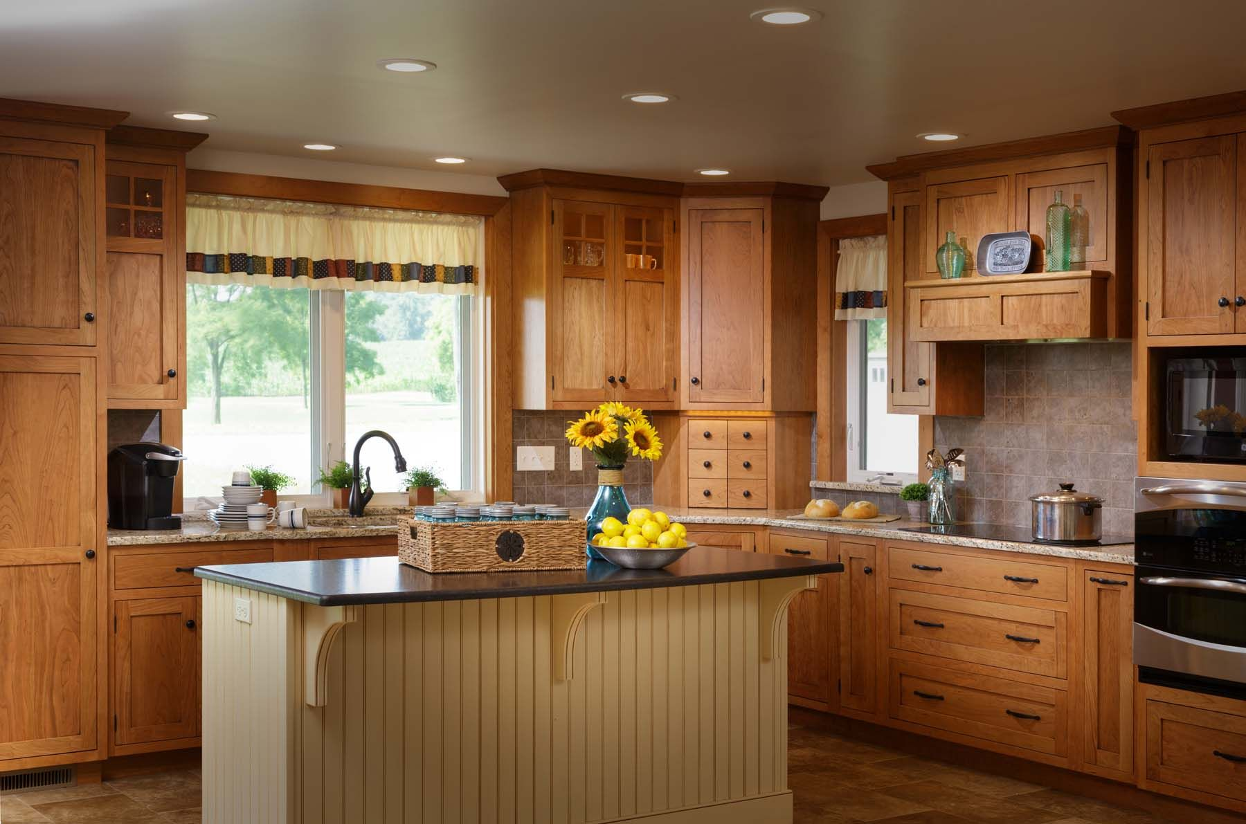 Natural Cherry Flush Inset Cabinetry With A Painted And Glazed Bead Board Island Affordable Kitchen Remodeling Kitchen Remodel Cherry Cabinets Kitchen