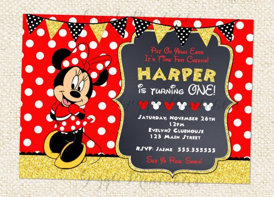 Red Minnie Mouse Invitations Birthday And Gold Baby Minn