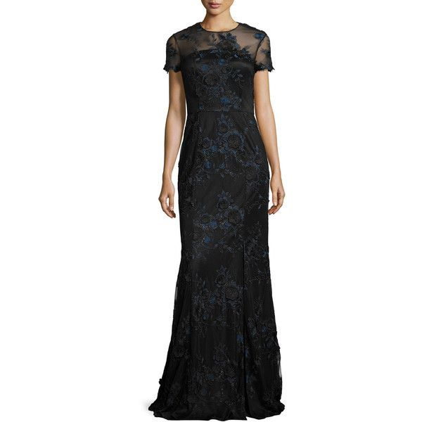 David Meister Short-Sleeve Floral Embroidered Illusion Gown ($313 ...