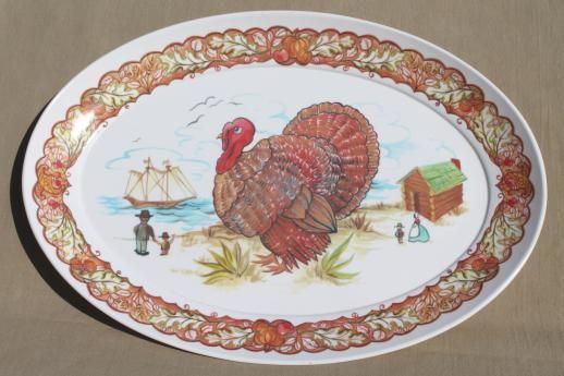 Vintage Thanksgiving Platter Melamine Brookpark Turkey Large Oval Plate by VintageRescuer on Etsy & huge turkey platter vintage Brookpark melmac Thanksgiving platter ...