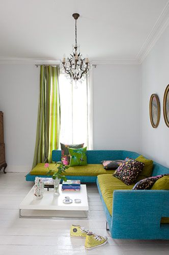 Lime Green And Turquoise Sofa And Cushions Colour Combo For Main Floor Living Room Kitchen Interior Home Decor